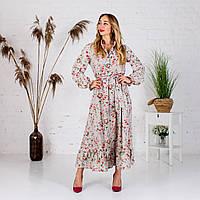Платье миди с цветочным принтом оливковое