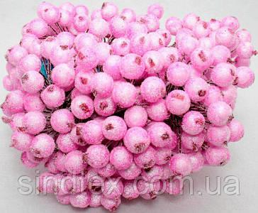 Калина сахарная для рукоделия  Ø12мм, 400 ягодок (200 двухсторонних проволочек) Цвет - Розовый (сп7нг-6060)