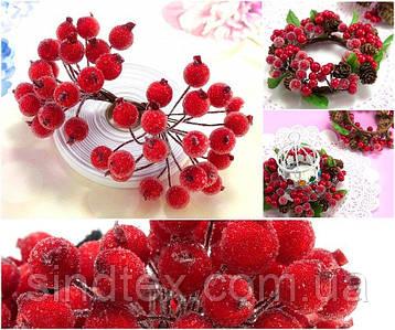 (Пучок) Калина сахарная для рукоделия  Ø12мм, 40 ягодок Цвет - Красный (сп7нг-6014)