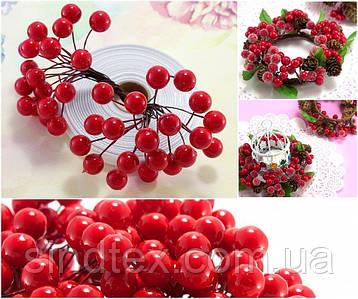 (Пучок) Калина лаковая для рукоделия  Ø12мм, 40 ягодок Цвет - Красный (сп7нг-5993)