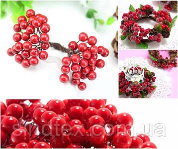 (Пучок) Калина лаковая для рукоделия  Ø7-8мм, 50 ягодок Цвет - Красный (сп7нг-6010)