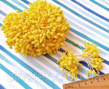 (1800шт) Тычинки-шишечки на нитке, 900шт двухсторонних ниток, головка 5х3мм Цвет - Яркий жёлтый (сп7нг-6028)