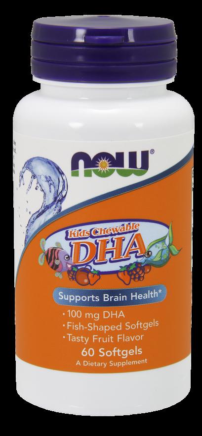 Рыбий жир для детей с фруктовым вкусом, Kid's DHA, Now Foods, 100 мг, 60 капсул
