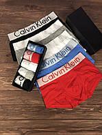 Набор мужских трусов Calvin Klein Steel Чёрный, Серый, Белый, Голубой, Красный