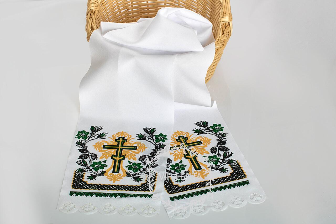 Рушник на хрест поминальний зелений