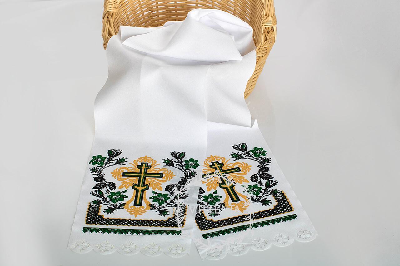 Рушник на крест поминальный зеленый