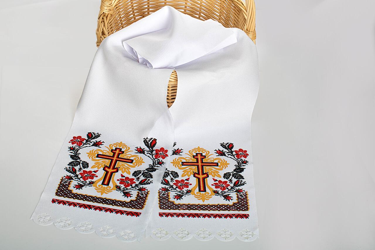 Рушник на крест поминальный красный