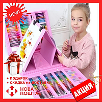 Набор для детского творчества в чемодане из 208 пр. Розовый | Набор для рисования Чемоданчик художника УЦЕНКА