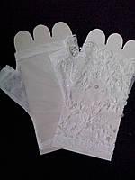 """Свадебные перчатки невесты """"16-04"""" короткие (белые)"""