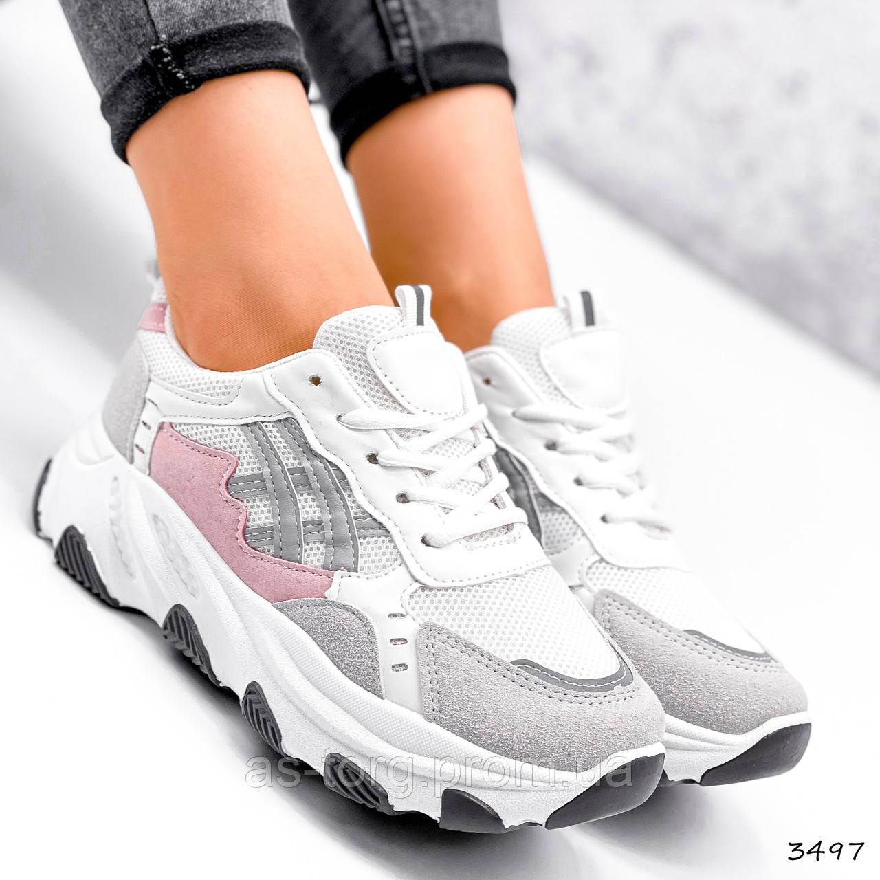 Кросівки жіночі Bella сірий + білий + пудра 3497