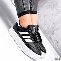 Кросівки жіночі Adis чорні + білий 3512, фото 1