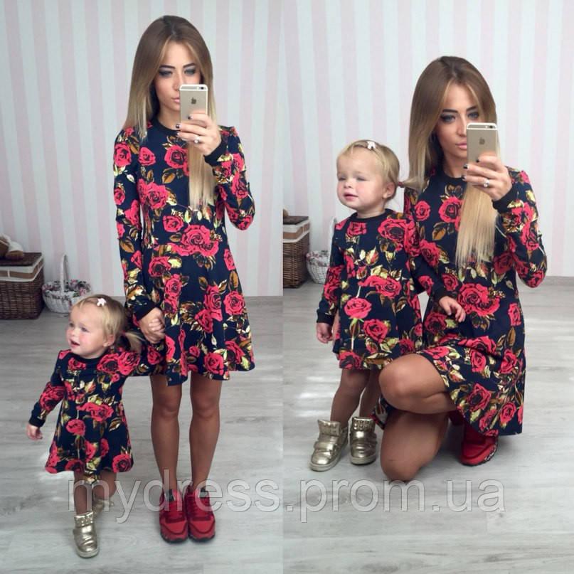 f483d33faa20d31 Family Look Парные трикотажные платья в стиле D&G мама дочка - MY DRESS SHOP  стильная одежда