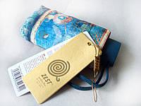 """Зонт ZEST женский механика 5 сложений, цветной плоский расцветка """"Ornament"""" blue"""