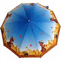 """Зонт ZEST, полуавтомат серия 10 спиц расцветка """"Autumn_cat"""" синий"""