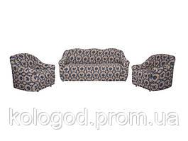 Комплект Чохлів На Тримісний Диван І 2 Крісла Без Оборки Жаккард Чорний З Синім Візерунком Модель 303