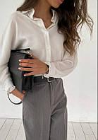Блузка женская рубашка с пуговками длинный рукав софт белый 42-44.