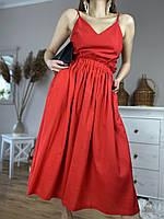 Юбка женская из льна красная на поясе-резинке с боковыми глубокими карманами размер XS-S (SC1x6)