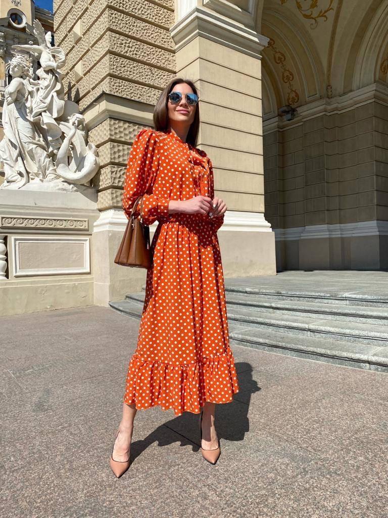 Женское платье, софт, р-р 42-44; 44-46 (оранж)