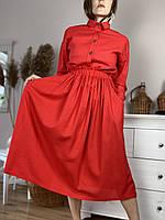 Юбка женская из льна красная на поясе-резинке с боковыми глубокими карманами размер M-L (SC1x6), фото 1