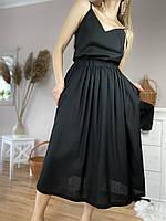 Спідниця жіноча з льону чорна на поясі-гумці з глибокими бічними кишенями розмір XS-S (SC1x6)