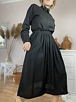 Спідниця жіноча з льону чорна на поясі-гумці з глибокими бічними кишенями розмір M-L (SC1x1)