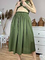 Спідниця жіноча з льону зелена на поясі-гумці з глибокими бічними кишенями розмір XS-S (SC1x5)