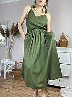 Спідниця жіноча з льону зелена на поясі-гумці з глибокими бічними кишенями розмір M-L (SC1x5)