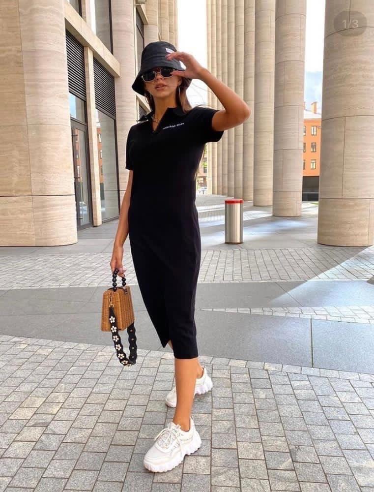 Женское платье, двунить, р-р С; М; Л; ХЛ (чёрный)