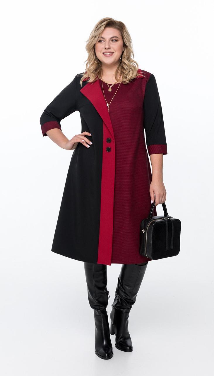 Платье Pretty-1155/3 белорусский трикотаж, черный + бордовая отделка, 54