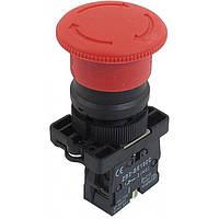 "Кнопка ""грибок"" d40мм с фиксацией NP2-ES542 (1NС) красная пласт. СНІNT, фото 1"
