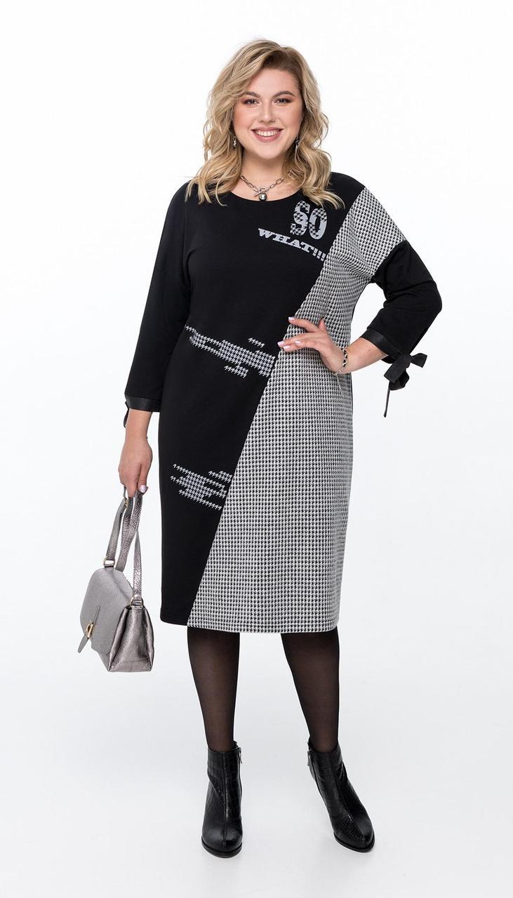 Платье Pretty-1186 белорусский трикотаж, черный + серый, 56