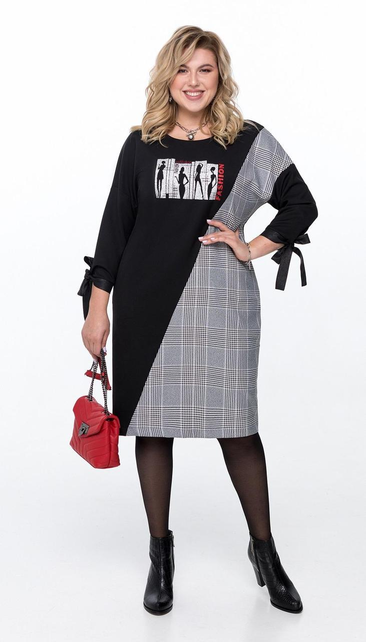 Платье Pretty-1187 белорусский трикотаж, черный + клетка, 56