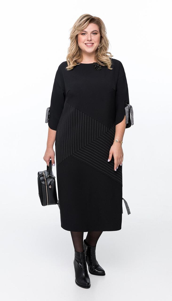 Платье Pretty-1191 белорусский трикотаж, черный в тонкую белую полоску, 56