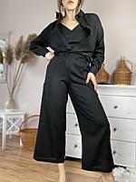 Штани-кюлоти жіночі чорні з льону літні з кишенями і поясом-резинкою розмір S (PNT1x1), фото 1