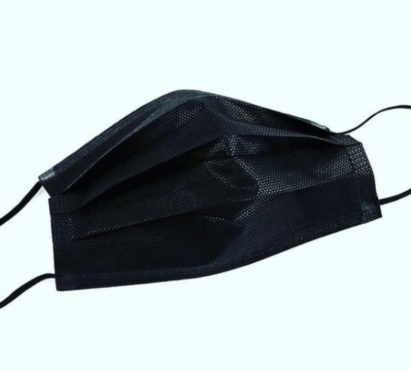 Маска медицинская одноразовая нестерильная черная (3-х слойная спанбонд) 50 шт / уп