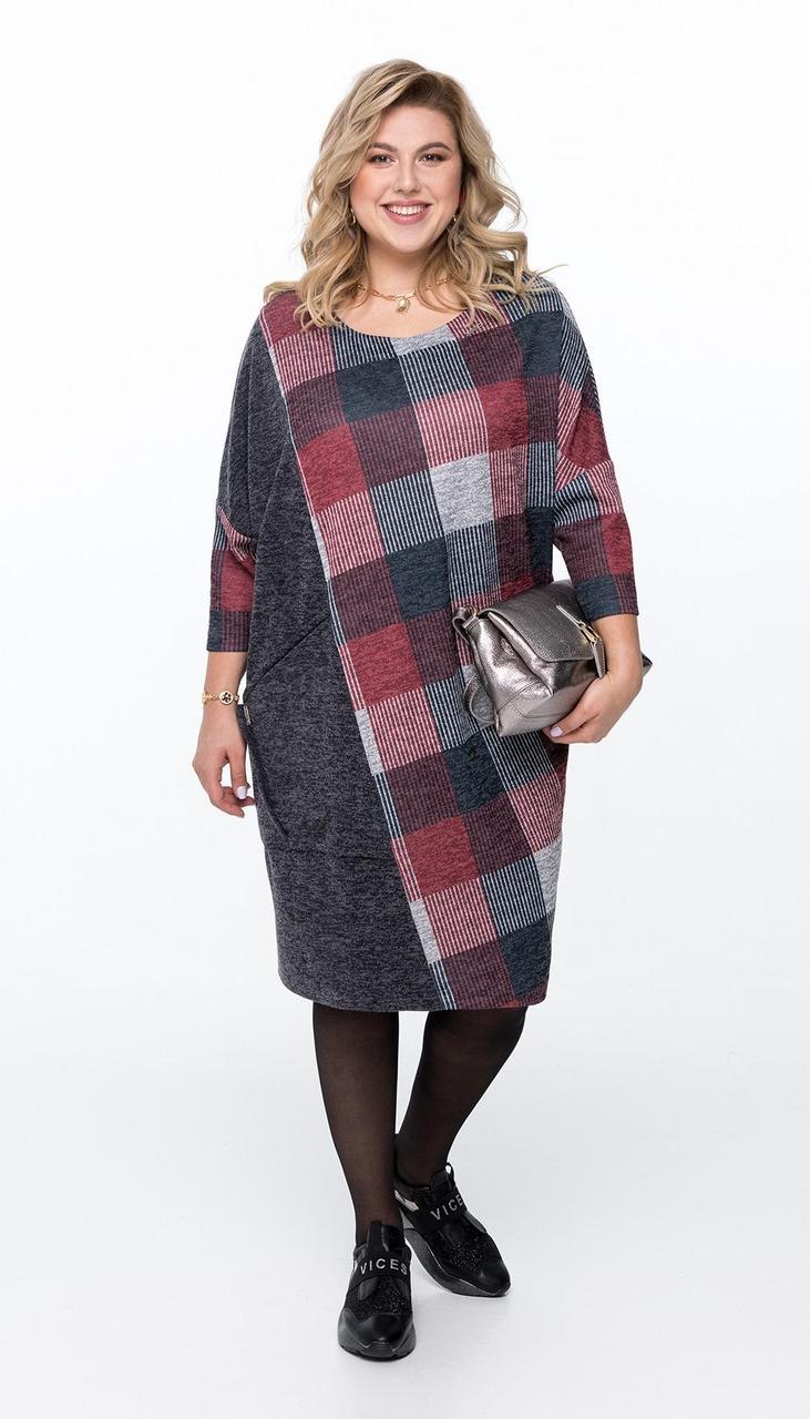 Платье Pretty-947/2 белорусский трикотаж, серый + серо-бордовая клетка, 56