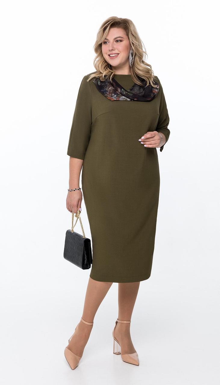 Платье Pretty-1176 белорусский трикотаж, хаки, 56