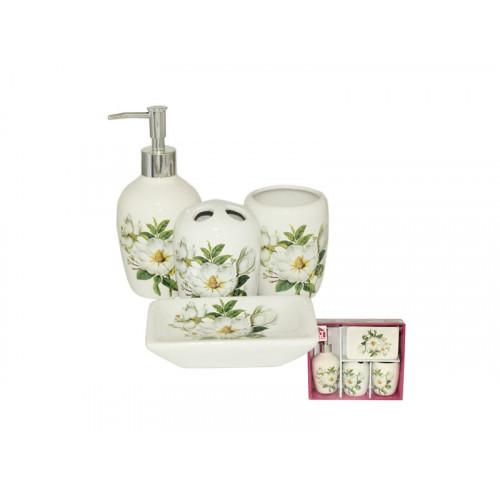 Набор аксессуаров для ванной комнаты 4 пр S&T Магнолия 888-06-004