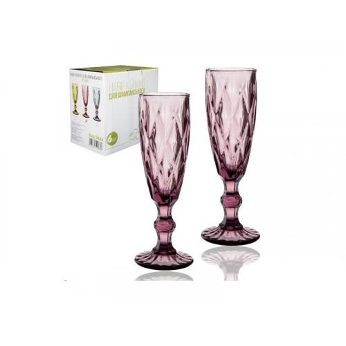 Набор бокалов для шампанского S&T Грани Бордо 6 шт 200 мл 9454