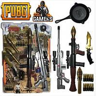 Іграшковий набір зброї PUBG (гранатомет, снайперська гвинтівка, ніж, сковорода, патрони)