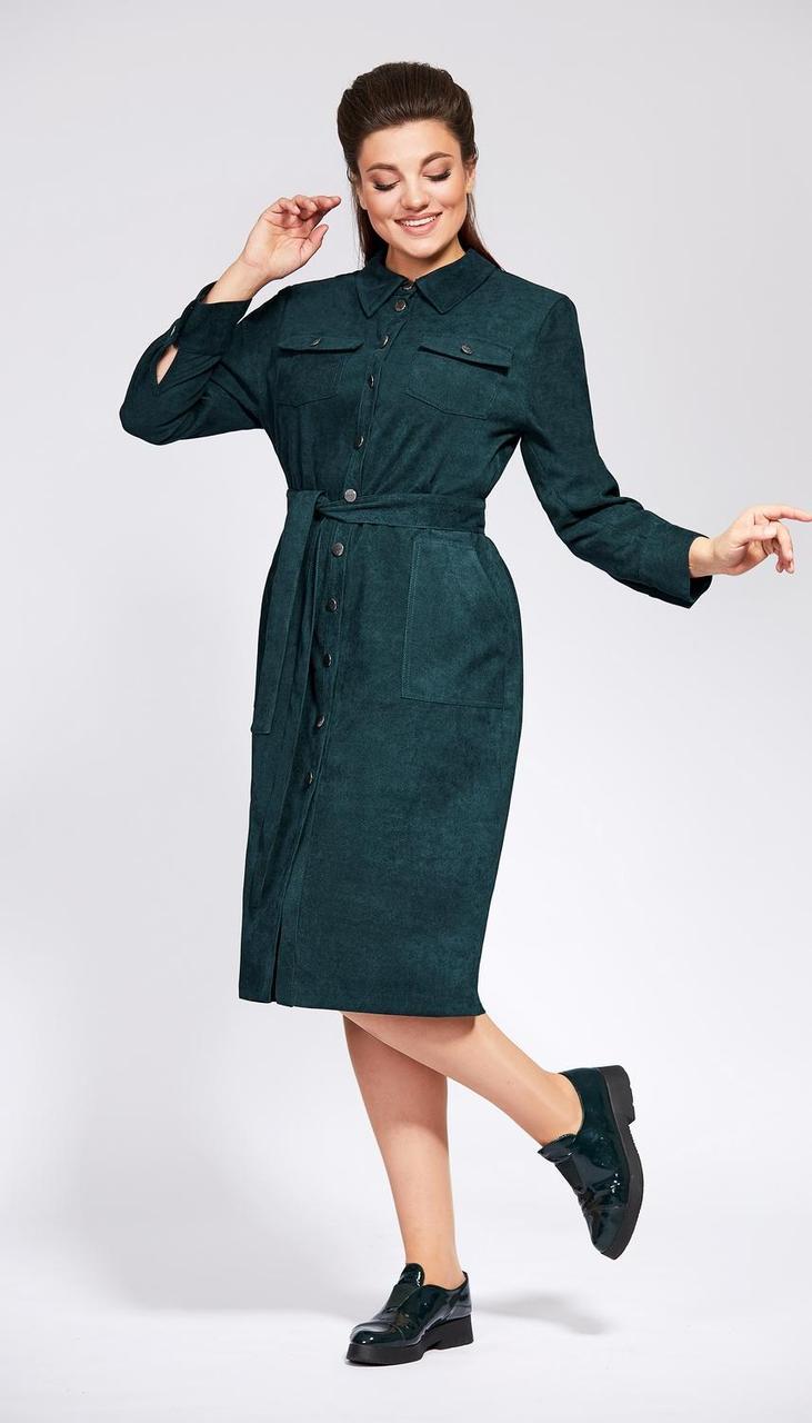 Платье Olga Style-С589 белорусский трикотаж, зеленый, 52