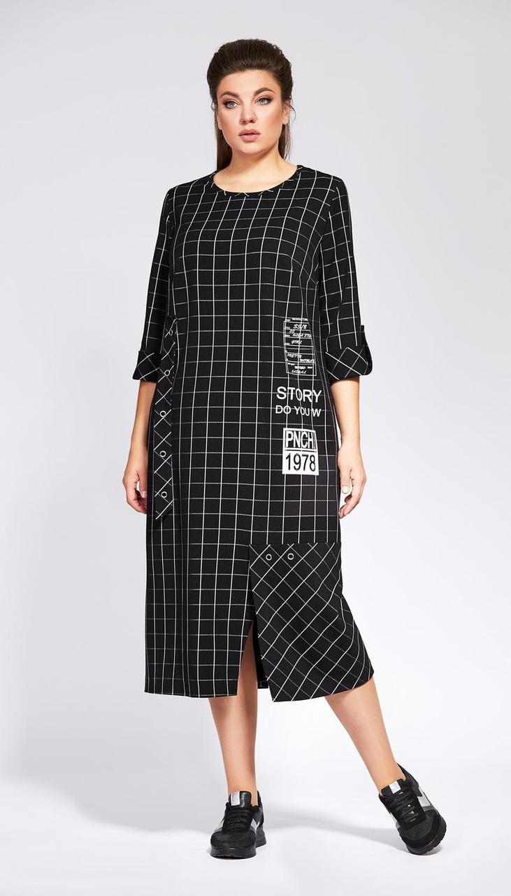 Платье Olga Style-С692 белорусский трикотаж, черный, 56