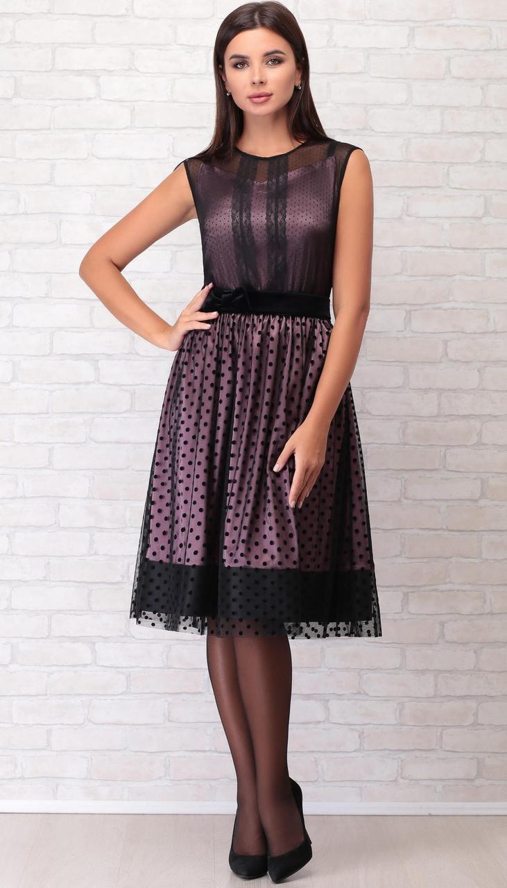 Платье LIMO-10038 белорусский трикотаж, черный-розовый, 44