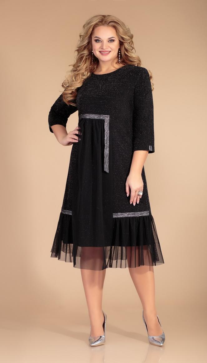 Платье Svetlana Style-1467 белорусский трикотаж, черный+полоски, 52