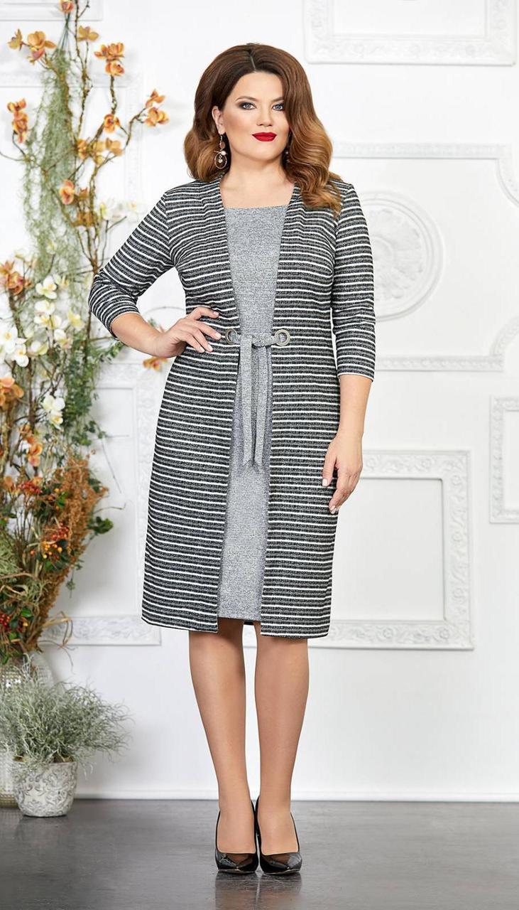 Платье Mira Fashion-4863-4 белорусский трикотаж, серый, 54