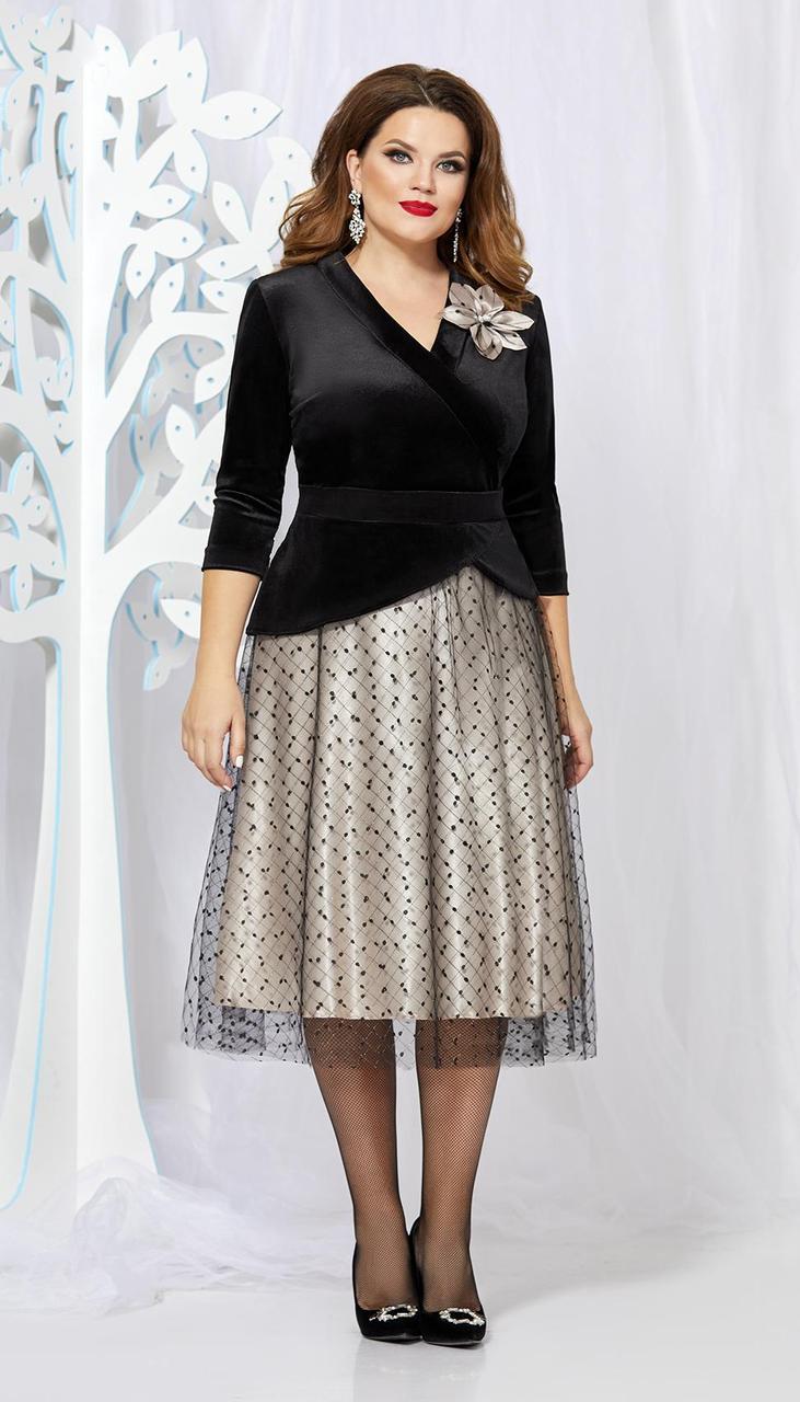 Платье Mira Fashion-4873 белорусский трикотаж, черный+серый, 50