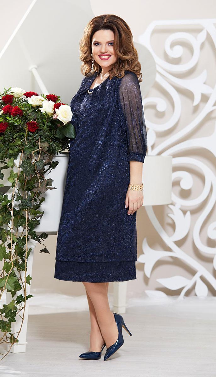 Платье Mira Fashion-4776-2 белорусский трикотаж, темно-синий, 58