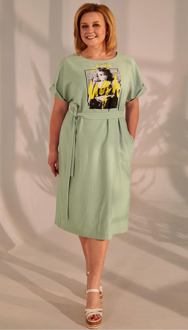 Платье Golden Valley-4680-1 белорусский трикотаж, олива, 56