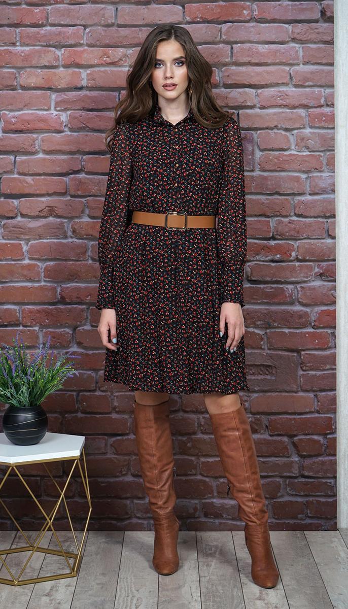 Платье Alani-1255 белорусский трикотаж, черный+красные цветочки, 50