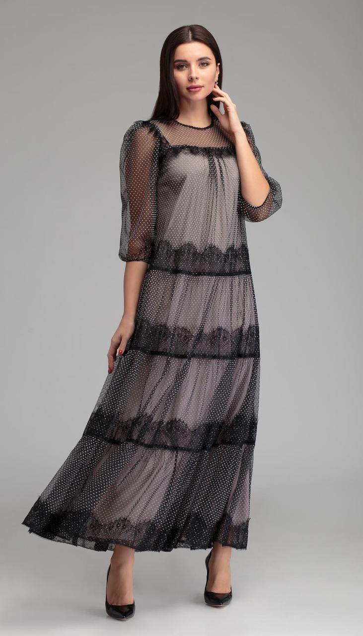 Платье Gizart-7409кр белорусский трикотаж, серый+черный, 42